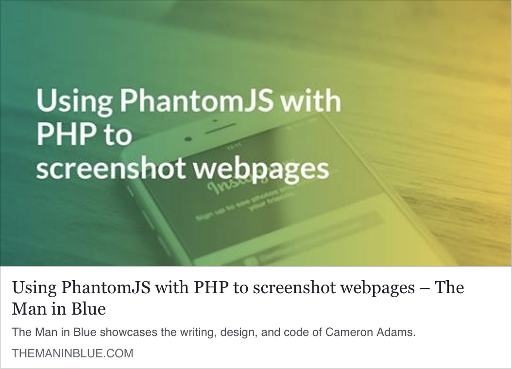 Using PhantomJS with PHP to screenshot webpages